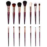 Luxury 14Pcs Makeup Brushes Set Professional Natural Goat Hair Coffee Brown Complete Brush Kit for Makeup Artist or Beginner