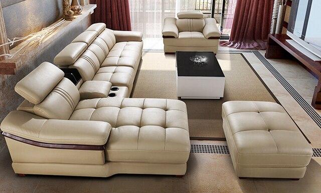De marfil de la sala de sección 6 unids/set conjunto de sofás de ...