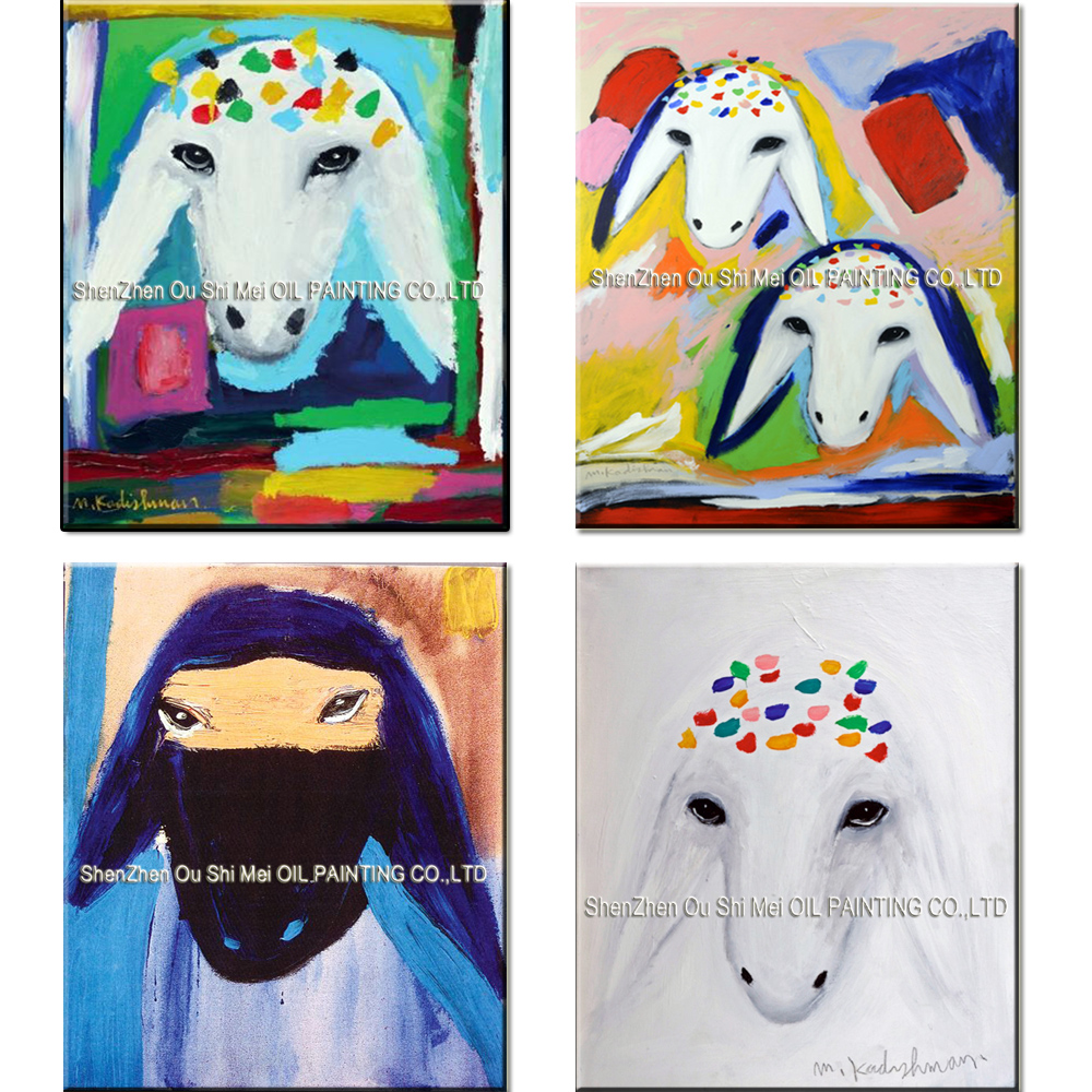 Hand Painted Reproduction Animal Oil Painting on Canvas for Room Decor Color Sheep Head Menashe Kadishman Art Imitation Painting