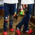 2016 Nuevo muchacho de la manera ropa infantil chicos vaqueros niños pantalones de la bandera pantalones vaqueros otoño pantalones de mezclilla para niños muchacho adolescente estrella pantalones 4-11 T