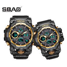 Jeden kawałek para zegarki na rękę cyfrowy mężczyzna kobiet sportowe zegarki pływanie zegarek kwarcowy podwójny wyświetlacz zegarek marki na rękę zegar dla mężczyzna kobieta G styl tanie tanio SBAO QUARTZ Z tworzywa sztucznego Klamra 3Bar 26cm 18mm ROUND Kompletna kalendarz Odporny na wstrząsy Świetliste Dłonie