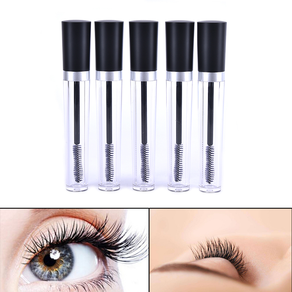 2017 Hot Selling 8ml plastic clear Empty Mascara Tube Vial/Bottle/Container with Black Cap for eyelash growth medium mascara image