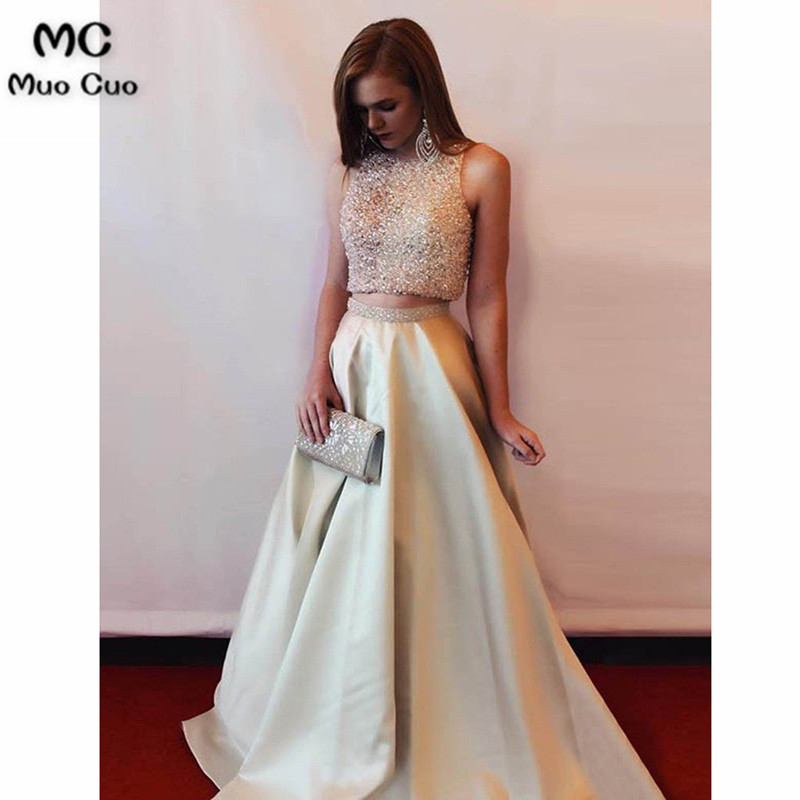 Elegant 2018 Two Pieces Gown A-Line Evening Dresses Satin Beaded Prom Dresses Long Floor Length Formal Evening Dress For Women