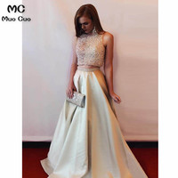 Elegant 2018 Two Pieces Gown A Line Evening Dresses Satin Beaded Prom Dresses Long Floor Length Formal Evening Dress for women