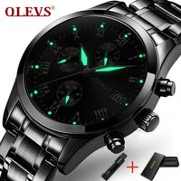 OLEVS עסקי גברים שעונים זוהר ידיים שעון זכר הכרונוגרף שעון תאריך פלדת צמיד רצועת השעון של אדם עמיד למים שעוני יד