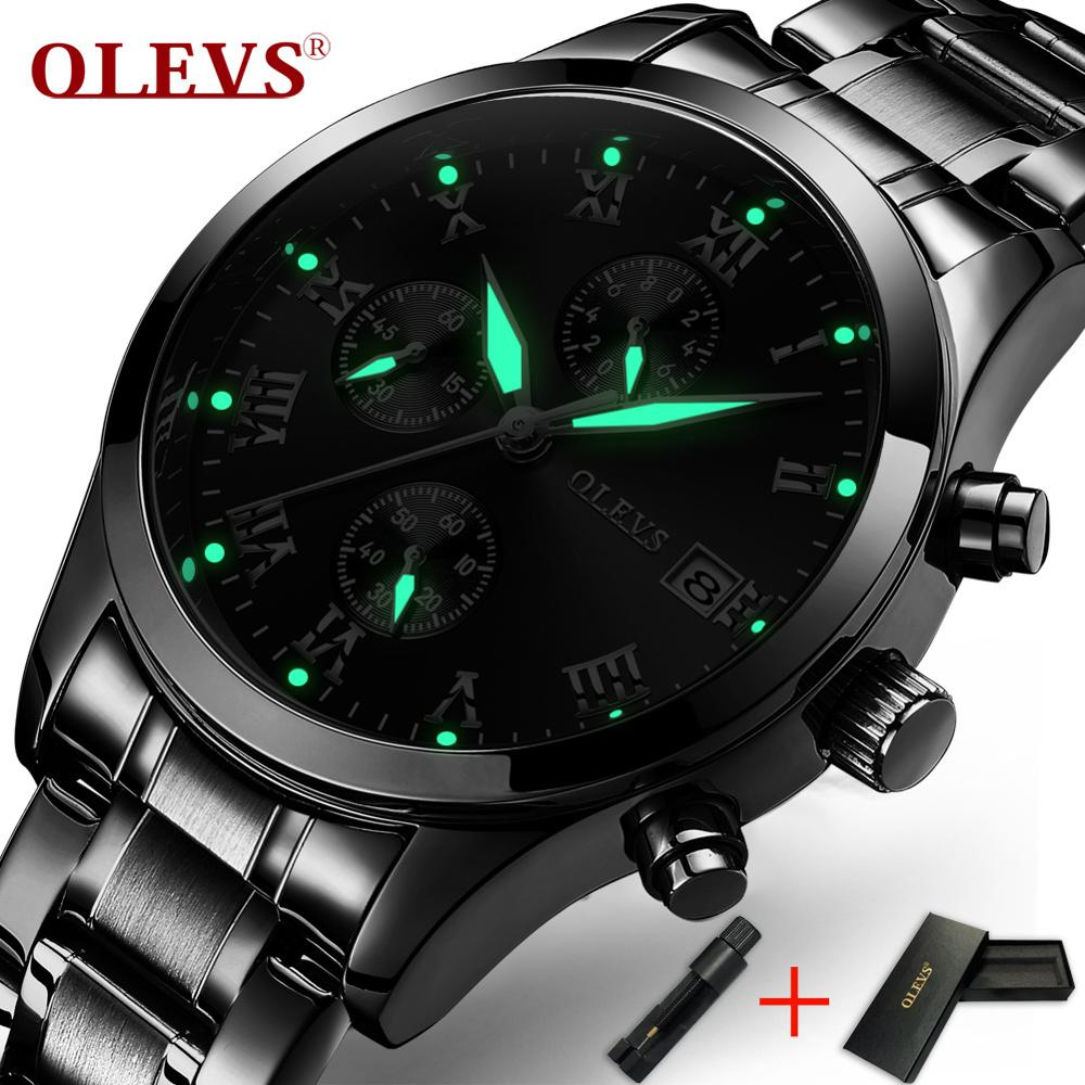 OLEVS Business Men Watches Luminous Hands Clock Male Chronograph Watch Date Steel Bracelet Watchband Man's Waterproof Wristwatch|wristwatch brand|wristwatch mens|wristwatches clock - title=