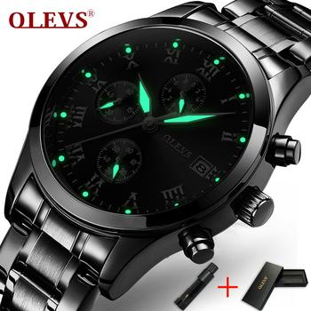 20ce0dd6b5db Relojes de hombre de negocios OLEVS reloj de manos luminoso reloj de  cronógrafo para hombre reloj de pulsera de acero de fecha reloj de pulsera  impermeable ...