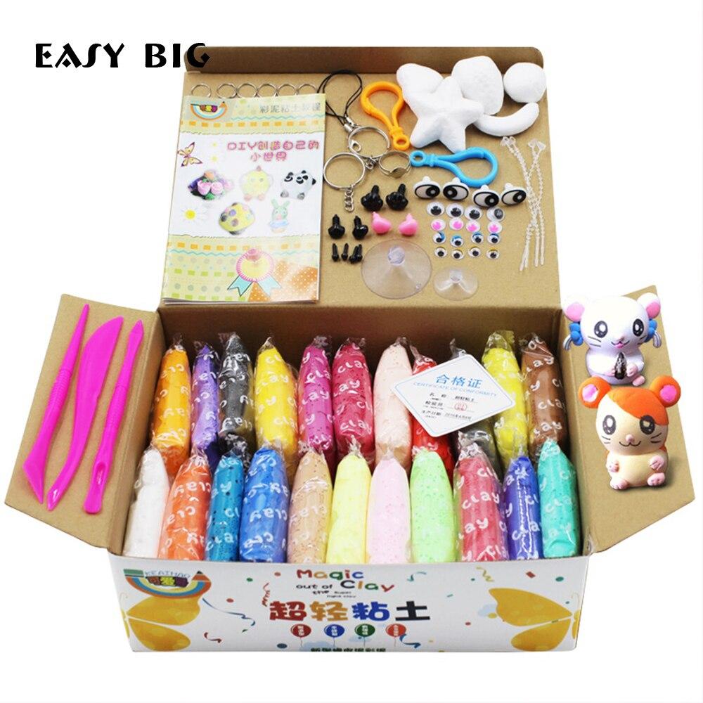 Fácil gran Unisex de color para niños de modelado de arcilla respetuoso del medio ambiente de estrés divertido juguetes de los niños plastilina juguetes TH0006