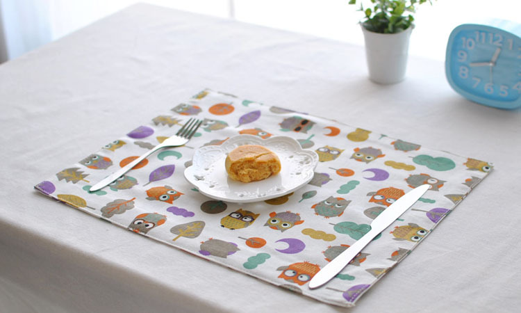 [RainLoong] Double Owl Print Table Mat Pad Thermal Insulation For Restaurant Dinning Bar Kitchen Decoration 40x30cm