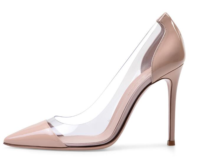High quality! Woman shallow splicing thin high heel pumps Ladies nude/black/blue/white pointed toe super high heels Dress shoes keyhole lace splicing high waist dress