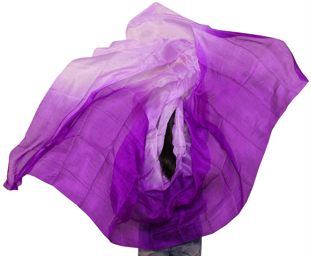 YI NA SHENG WU 1pc Belly Dance Props Women Belly Dance Natural Silk Veil 250*114 cm Belly Dance Accessories Purple +Light purple