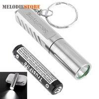 SecurityIng Bạc Mini XPG-R5 LED Flashlight Torch Thép Không Gỉ Xách Tay Pocket LED Ánh Sáng Đèn Flash Penlight + AAA Battery