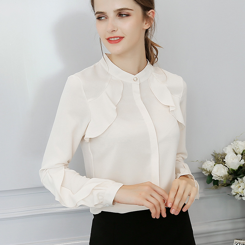 407ae279a0d43 US $13.48 30% OFF|Export Prairie Chic Wine Red Blouse Womens Long Sleeve  Ruffles Shirts Girl Slim White Chiffon Tops Tees Summer New 2018-in Blouses  & ...