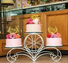 Wrought iron creative flower multi-layer cake rack wedding birthday three-layer display