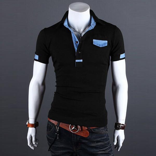 Nueva moda 2016 hombres de marca polos hombre camisa masculina patchwork sólido de manga corta polo camisetas ropa camisa polo masculina