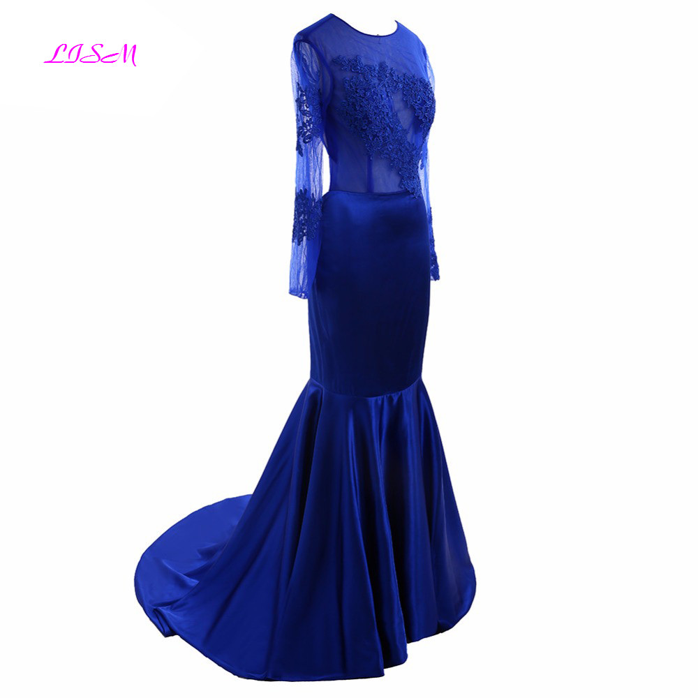 Royal Blue Mermaid Evening Dresses O Neck Sheer Long Sleeve Applique Sexy Open Back Prom Dress Plus Size Sweep Train Formal Gown in Evening Dresses from Weddings Events