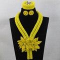 Роскошный Желтый Ожерелье Женщины Ювелирные Изделия Набор 2017 Цветок Кристалл Брошь Подвеска Ожерелье Серьги Невесты Бесплатная доставка WD557