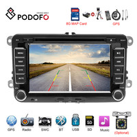 Podofo Car Multimedia player 2 Din GPS Car DVD For VW/Volkswagen/Golf/Polo/Tiguan/Passat/b7/b6/SEAT/lSkoda/Radio Support Carmera