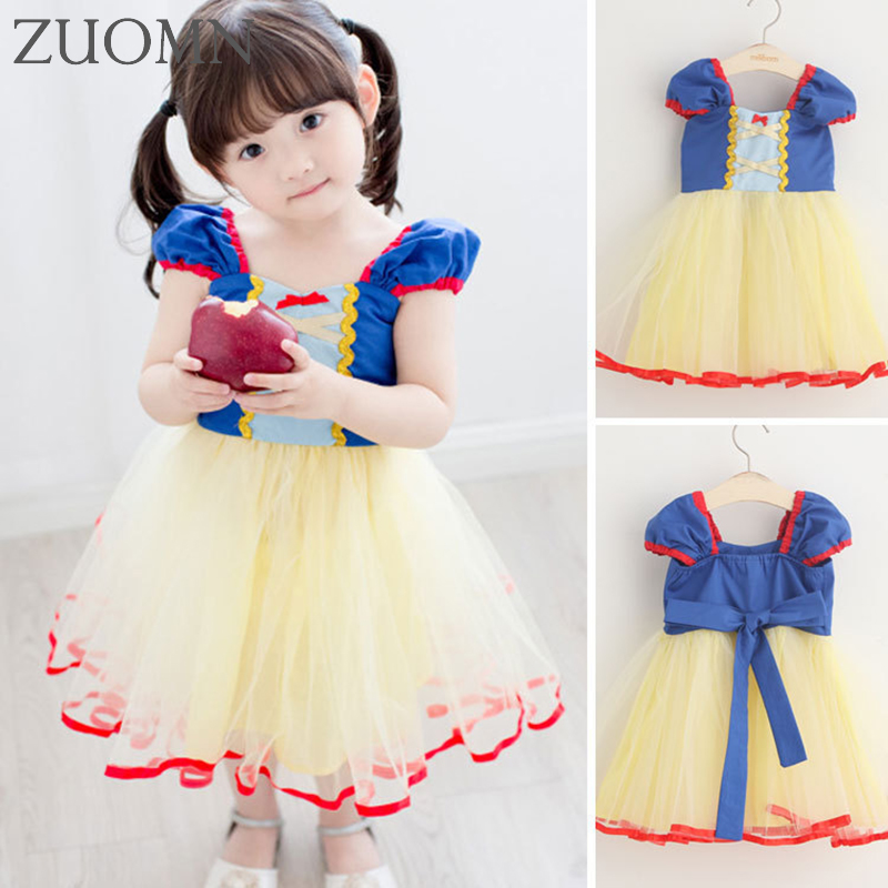 Children Snow White Dress Summer Girl Dress Princess Costume Party Backless Dresses For Girls Kids Birthday Clothes YL563 ftlzz 2017 summer new girls snow white princess ball gown dress kids girls party cosplay dresses costume children girl clothing