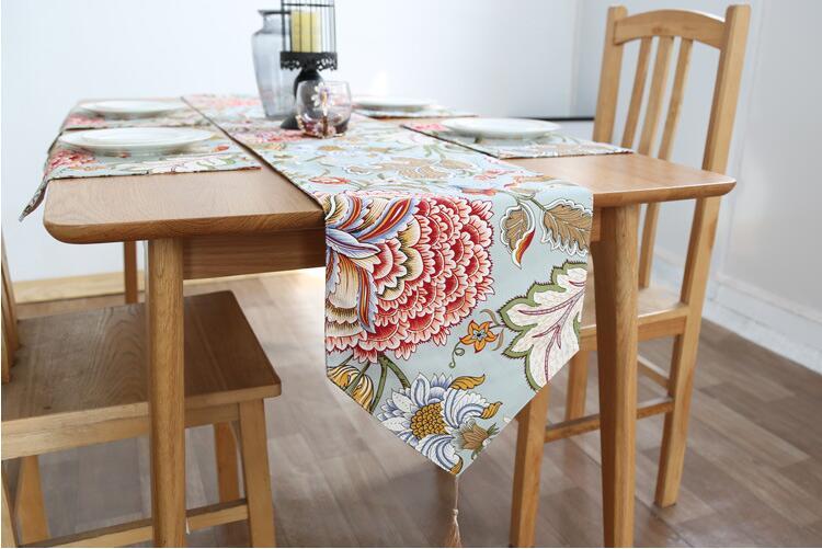 Moderní stolní běžec vytištěný květinový prádlo bavlna stolní běžec pro svatební party Home Hotel tabulka dekorace domácí textil