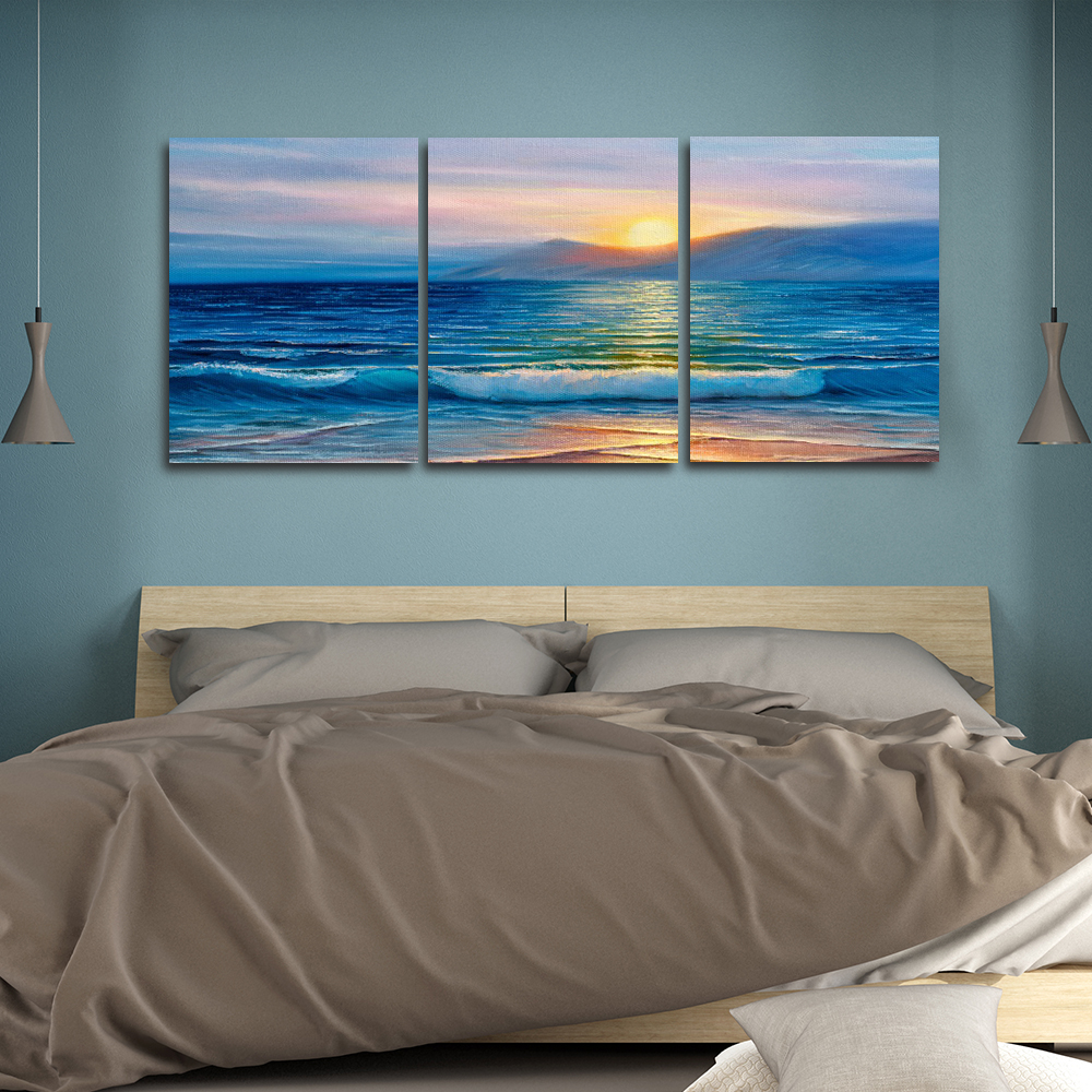 Laeacco Canvas Calligraphy Painting Sea Sunrise Nordic Wall Artwork Posters and Prints Abstract Living Room Home Decor in Painting Calligraphy from Home Garden