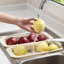 Adjustable Sink Dish Drying Rack Kitchen Organizer Plastic Vegetable Fruit Holder Storage Rack Sink Drain Basket