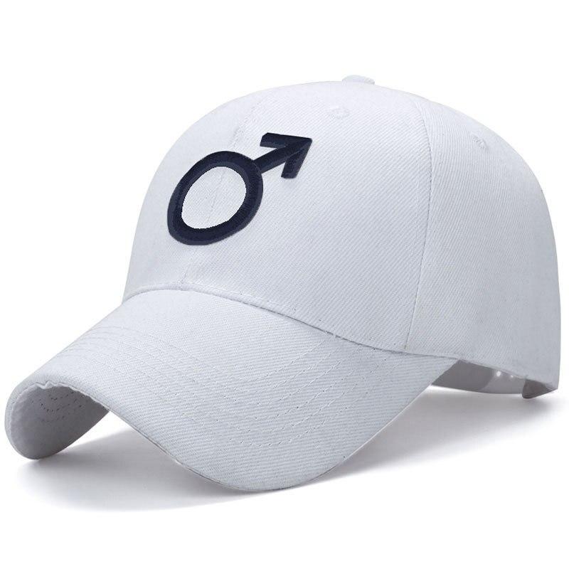 Embroidered Male Symbol Baseball Cap - White