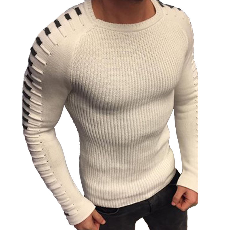 Laamei Sweater Men Knitted Long-Sleeve Autumn Winter Casual O-Neck Patchwork Solid New-Arrival