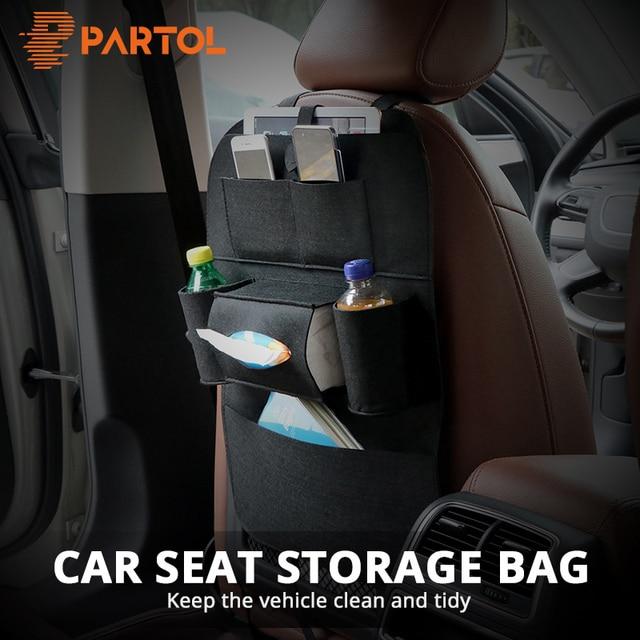 Partol 1x Universal Car Seat Back Organizer Storage Bag Felt Cloth Auto Backseat Organize Multi-Pocket Container Stowing Tidying