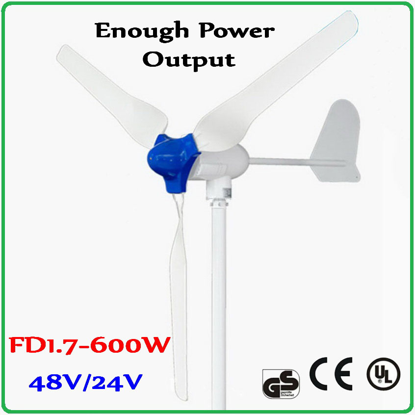 600W Wind Turbine Generator 48V or 24V with 1700mm super Rotor 100% enough-power output generator Max 850W wind power generator free shipping 600w wind grid tie inverter with lcd data for 12v 24v ac wind turbine 90 260vac no need controller and battery
