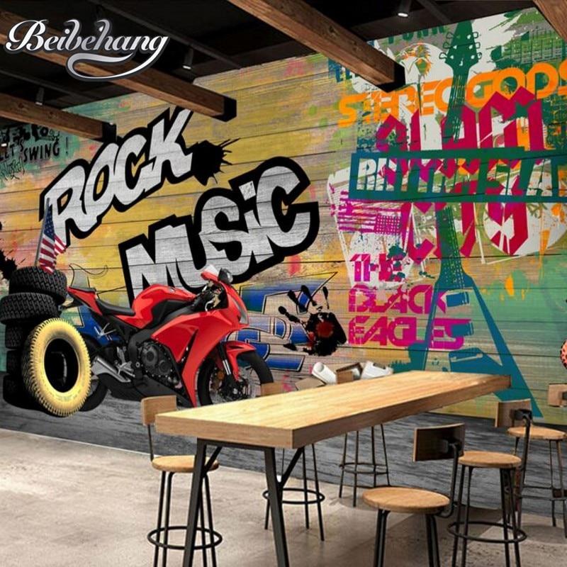 Beibehang Custom Wallpaper Modern Street Art Graffiti Backdrop Wallpaper Decorative Painting Motorcycle Wallpaper For Walls 3 D