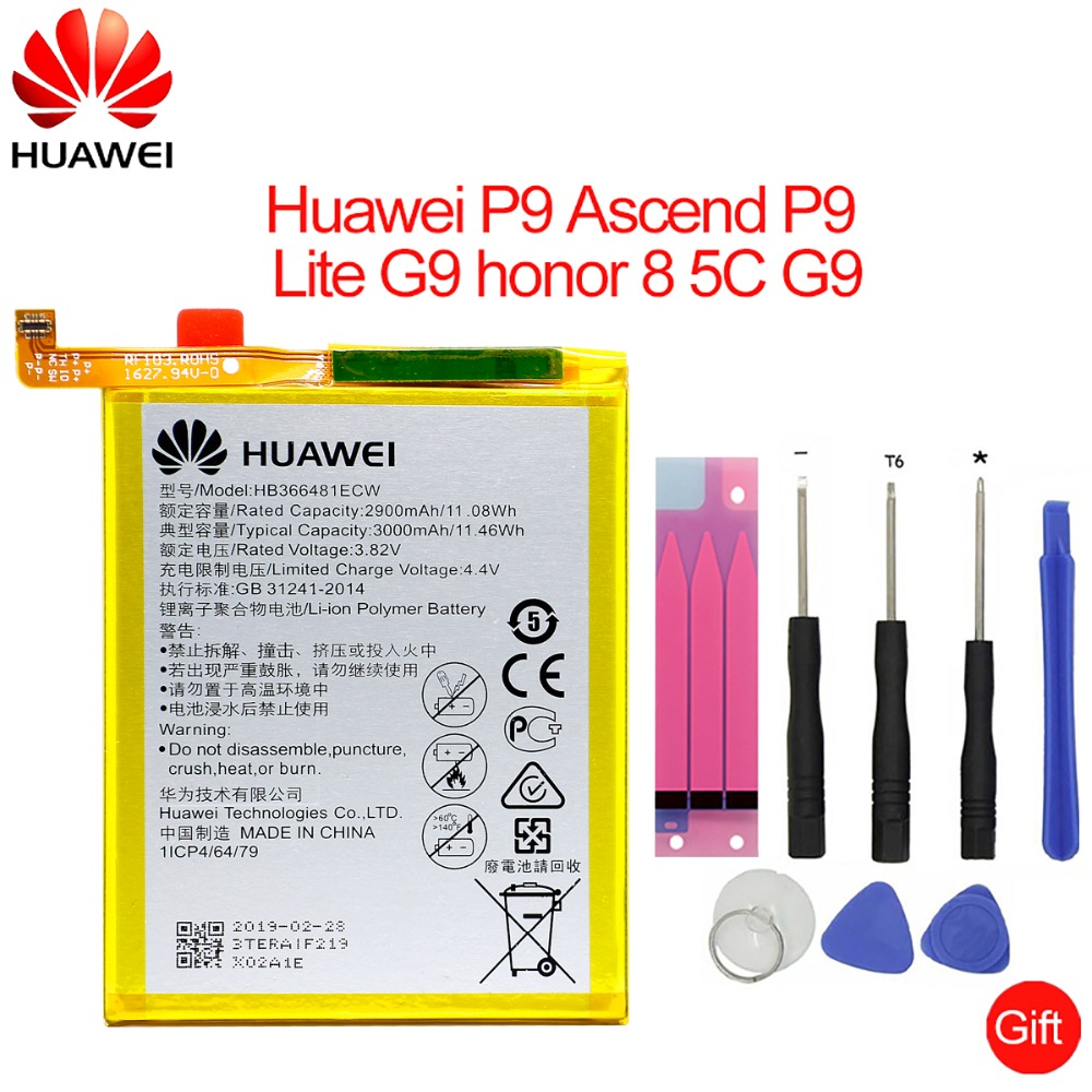 Hua Wei Orginal Phone Battery HB366481ECW For Huawei Honor 8 Honor 8 Lite Honor 5C Ascend P9 Huawei P10 P9 Lite G9 3000mAh(China)