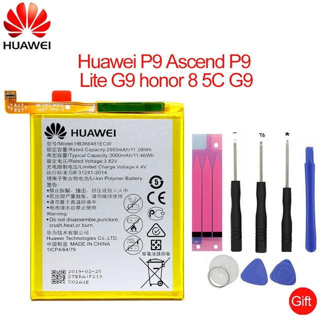 Hua Wei de reemplazo de batería del teléfono HB366481ECW para Huawei honor 8/honor 8 lite/honor 5C Ascend P9/P9 Lite /G9 3000 mAh