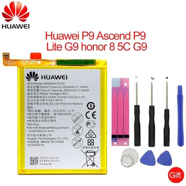 Hua Wei original de la batería del teléfono HB366481ECW para huawei honor 8 honor 8 lite honor 5C Ascend P9 huawei P10 P9 Lite G9 3000 mAh