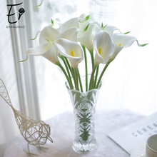 Erxiaobao 10 Pieces/Lot PU White Purple Yellow Red Blue Green Pink Calla Fake Lily Artificial Flowers Wedding Home Decoration