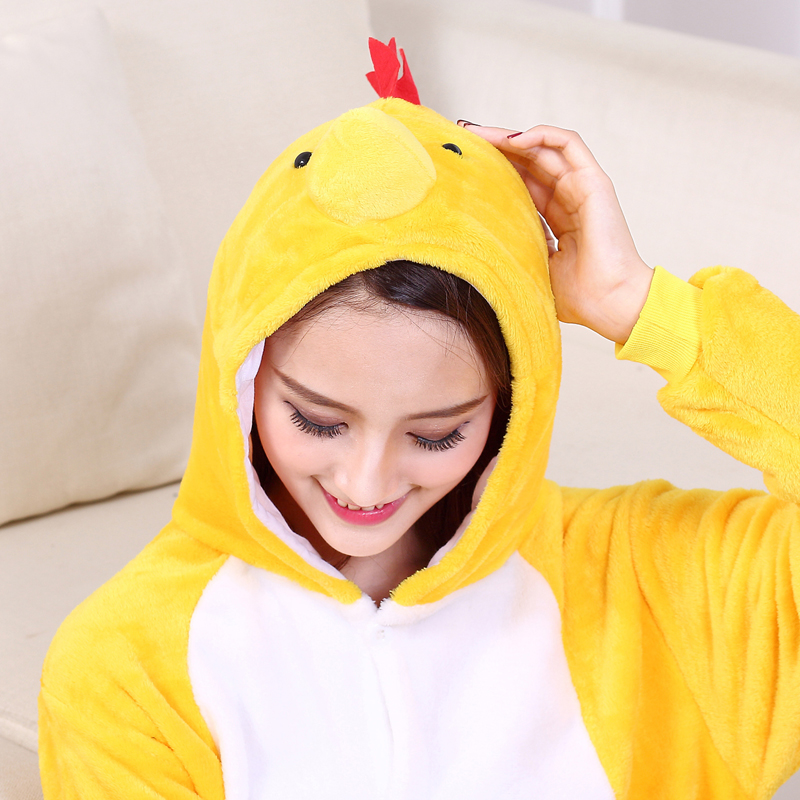 Yellow Chick Kigurumi Onesie For Adults One-Piece Flannel Animal Pajamas For Halloween Jumpsuit Cosplay Party Costume Sleepwear (1)