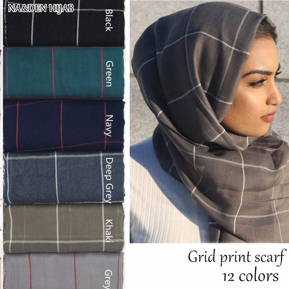 Hot sale plaid scarf fashion grid Solid design scarves women shawls muslim hijab cosy pashmina wrap
