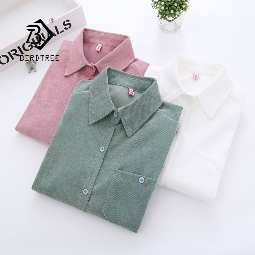 2019 New Woman Corduroy Normcore Pocket Shirt Single Breasted Turn Down Collar Long Sleeve Button Feminina Hot Sale T8D414Z