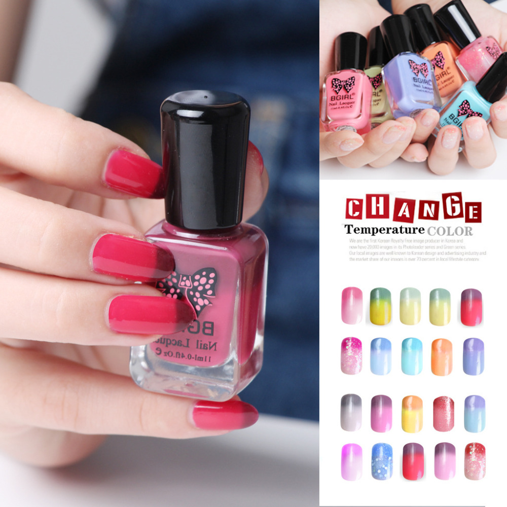 Nail Polish Tips: Nail Art Color Changing Polish 11ml Peel Off Thermal Nail