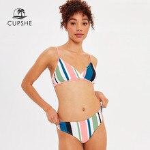 596e2830c CUPSHE Colorido Listrado Bikini Define Mulheres Sexy Calcinha Fio Dental Duas  Peças Maiôs 2019 Menina Trajes de Banho de Praia S..