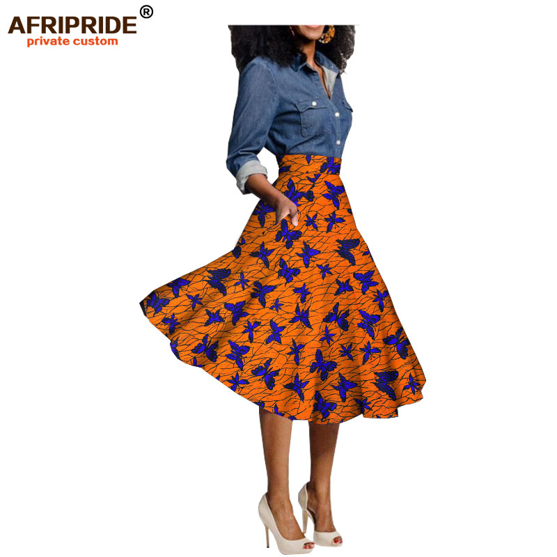2017 summer dress for women AFRIPRIDE private custom african clothing knee length casual skirt 100 pure