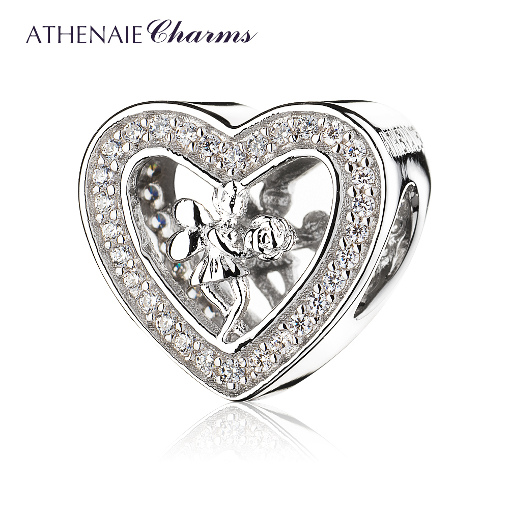 ATHENAIE 925 Sterling Silver Pave Clear CZ Angel Rose Heart Charms Fit Bracelets Jewelry Gift часы angel heart angel heart angel heart