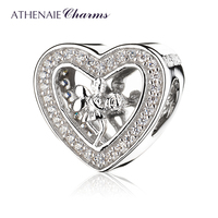 ATHENAIE 925 Sterling Silver Pave Clear CZ Angel Rose Heart Charms Fit Bracelets Jewelry Gift