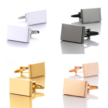 Simple Style Rectangle Cufflinks for Mens Shirt Cuff links Buttons Business Metal Copper Brass Cuff link Men Gold Gemelos Cuffs купить недорого в Москве