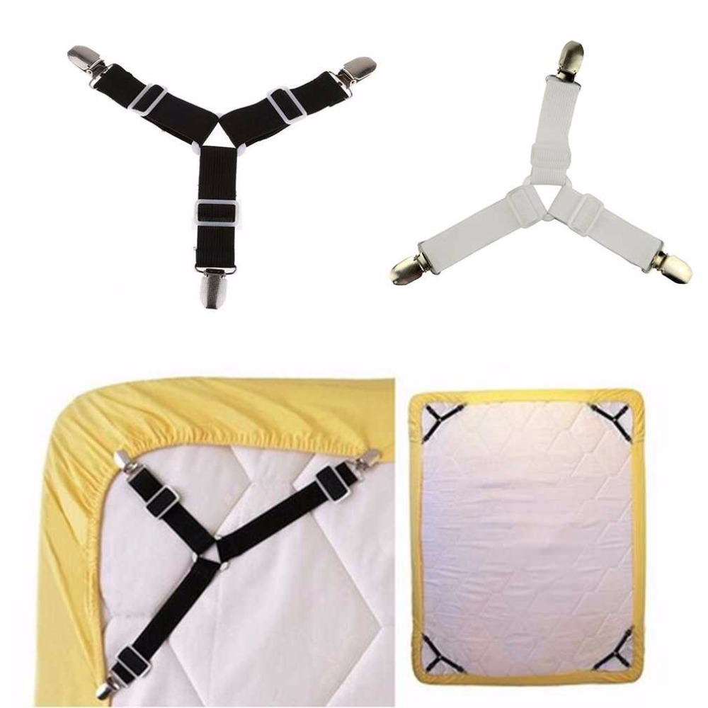 4PCS Adjustable Triangular Bed Mattress Sheet Metal Clips Grippers Straps Table Cloth Fasten Suspender Fastener Holder Shipping
