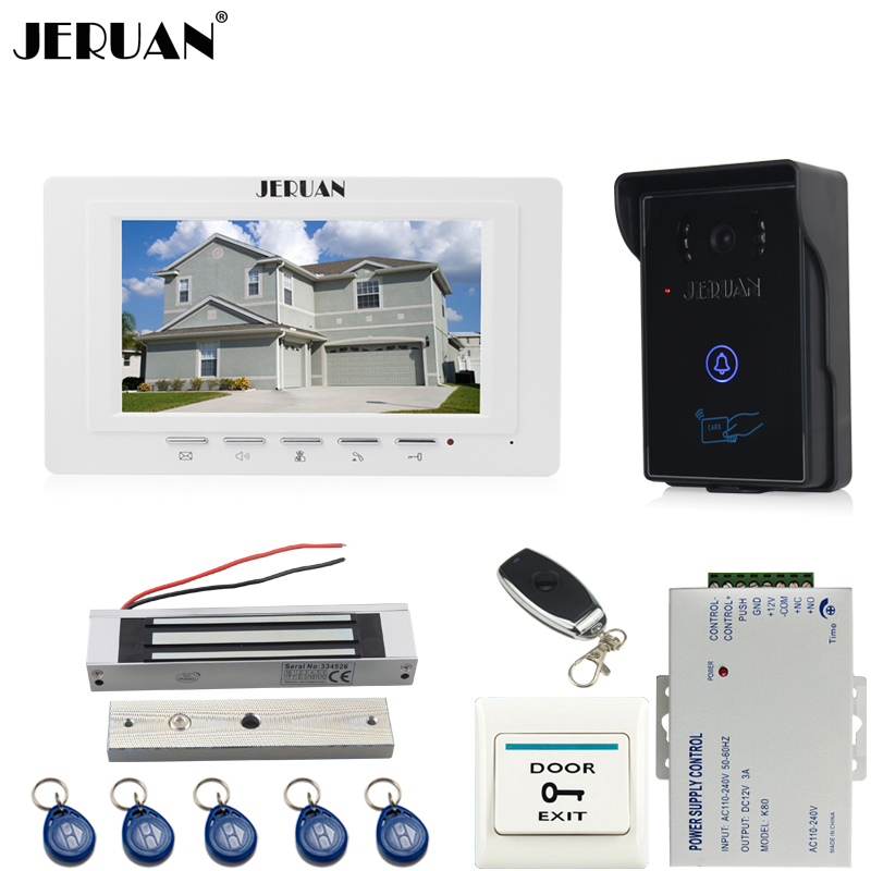 JERUAN 7 inch video door phone intercom system kit RFID touch key waterproof access Camera 180KG Magnetic lock + remote control jeruan wired 7 touch key video doorphone intercom system kit waterproof touch key password keypad camera 180kg magnetic lock