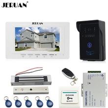 JERUAN 7 inch video door phone intercom system kit RFID touch key waterproof access Camera 180KG Magnetic lock + remote control