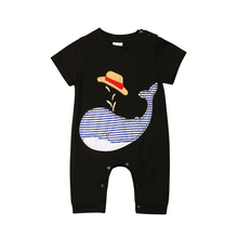 One Piece Newborn Baby Boy Girl Whale Romper Short Sleeve Jumpsuit Sunsuit Outfi