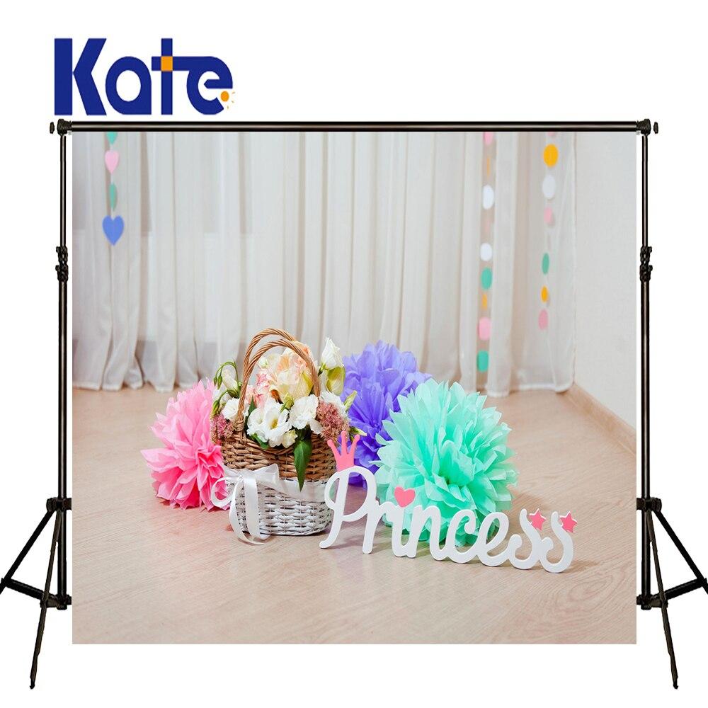 KATE Newborn Birthday Backdrops White Curtain Background Flower Basket Background Old Wood Floor Backdrops For Studio сумка kate spade new york wkru2816 kate spade hanna