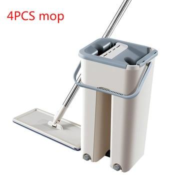 Bucket mop 4PCS replacement mop cloth kitchen floor cleaner creative lazy hand-free wash flat mop microfiber mop WF625212